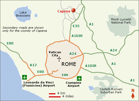 Location of Capena in relation to Rome