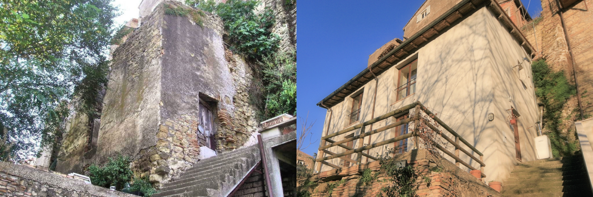 Rear exterior of Casa Galilei before and after restoration
