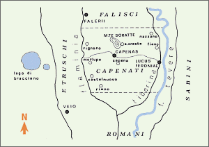 Map of the Capenati lands in historic Etruria