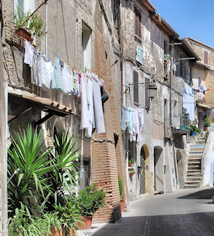 """In true Capena style, we dried our clothes on sunny days, in front of the main door of the house."""